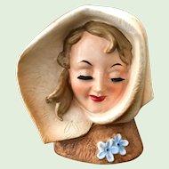 Lady in Brown Hood Bette Davis Look-Alike Head Vase Wales Made in Japan