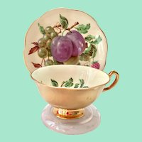 Rosina Mixed Fruits Heavy Gold #5057C Bone China Teacup and Saucer
