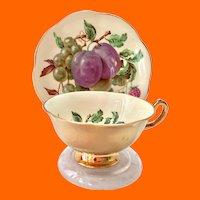 Rosina Mixed Fruits Heavy Gold #5057C Bone China Teacup and Saucer