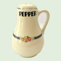 Hall China Blue Bouquet Handled Pepper Shaker