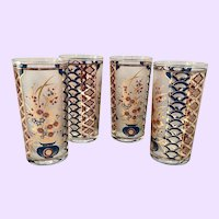 Culver Imari Colors Red Blue 22K-Gold Highball Tumblers Asian Inspired Set of Four