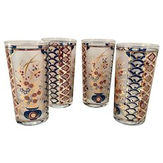 Culver Imari Colors Red Blue 22K Gold Asian Inspired Highball Tumblers Set of Four