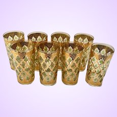 Mid-Century Culver Glass Valencia 22K Gold Highball Tumblers Set of 8