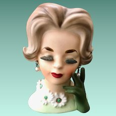 Napco Daisy Lady in Green with Gloved Hand C6427 Head Vase