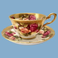Royal Chelsea Golden Rose #3983A Bone China Teacup and Saucer