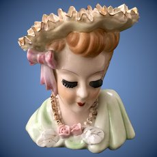 Bone China Lace Head Vase Lady in Green Applied Eyelashes by Thames