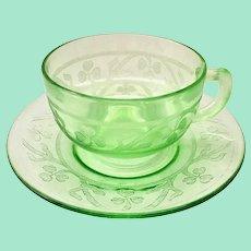 Cloverleaf Green Depression Glass Cup and Saucer Hazel Atlas 1930s