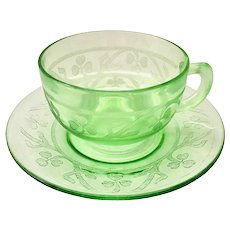 Cloverleaf Green Depression Glass Cup and Saucer Hazel Atlas 1930s