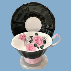 Black and Pink Rose Bone China Teacup Princess Anne, Longton, Staffordshire, England