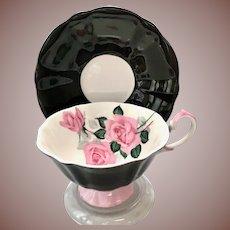 Black and Pink Rose Bone China Teacup Princess Anne, Longton, Staffordshire, England