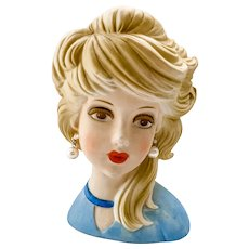 Inarco Ghost Sister E-6210 Young Lady in Blue Head Vase