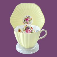Foley Yellow Fluted Teacup and Saucer with Rose and Tulip Design
