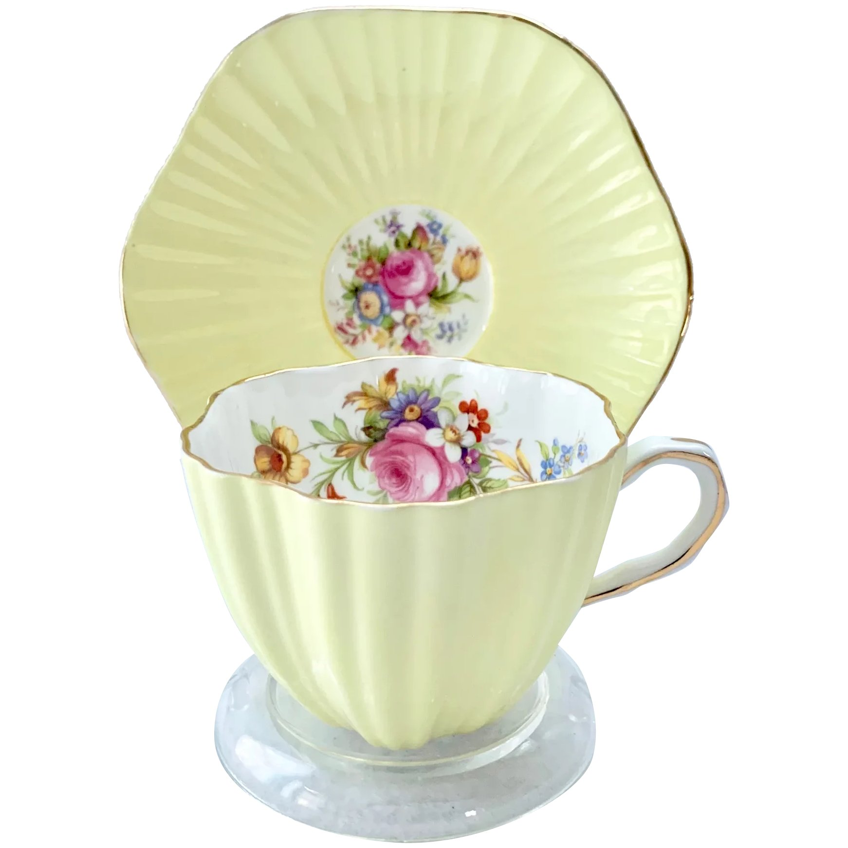 Foley Yellow Fluted Teacup And Saucer With Rose And Tulip Design Maggie Belle S Memories Ruby Lane
