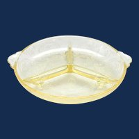 Horseshoe Yellow Depression Glass Divided Relish No. 612 Indiana Glass