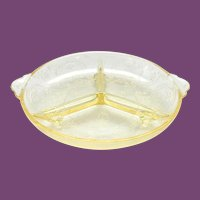 Horseshoe Yellow Depression Glass Divided Relish No. 612 Indiana Glass