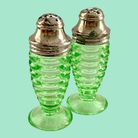 Hazel Atlas Number 3530 Green Depression Glass Salt and Pepper Shakers