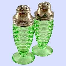 Hazel Atlas Number 3530 Green Depression Glass Salt and Pepper Shakers