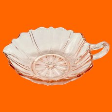 Oyster and Pearl Pink Depression Glass Heart Shaped One-Handled Nappy Anchor Hocking