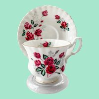 Royal Albert Burgundy Red Rose Bone China Teacup and Saucer
