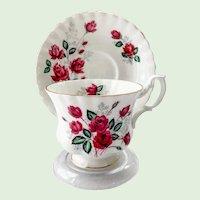 Royal Albert Burgundy Red Rose Bone China Teacup and Saucer