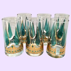 Mid-Century Starlyte S7T1 Teal 22K-Gold Space Age-Style Highball Tumblers Set of Six