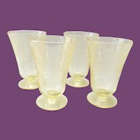 Florentine/Poppy No. 2 Yellow Depression Glass Footed 5-inch Tumblers Set of Four Hazel-Atlas
