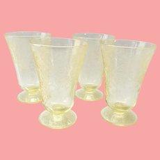 Florentine/Poppy No. 2 Yellow Depression Glass Footed 5-inch Tumblers Set of Four Hazel-Atlas