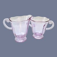 Fostoria Glass Wisteria Lafayette #2440 Open Sugar Bowl and Creamer
