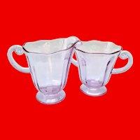 Fostoria Glass Wisteria Lafayette #2440 Open Sugar Bowl and Creamer
