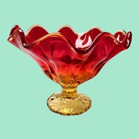 MCM Glass Simplicity Line Flame Crimped Compote Amberina Red Glass Pedestal Dish LE Smith