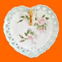 Heart-Shaped One-Handled Nappy Dish Hand Painted Signed