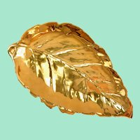 Royal Winton Grimwades Golden Age Large Leaf-Shaped Gold Serving Dish