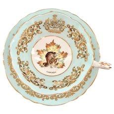 Paragon Blue and Gold Filigree Canada Beaver Bone China Teacup and Saucer