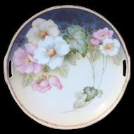 RS Germany Pink and White Floral Two Handled Plate Early 1900s