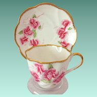 Salisbury Bone China Staffordshire, England Pink Sweet Pea Teacup and Saucer 1950s