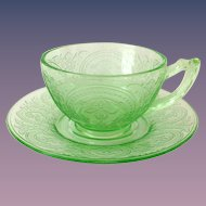 Indiana Horseshoe Number 612 Green Depression Glass Cup and Saucer