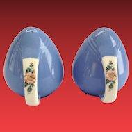 Hall Rose Parade Sani-Grid Handled Blue Salt and Pepper Shakers