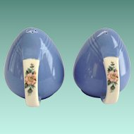 Hall Rose Parade Sani-Grid Handled Blue Salt and Pepper Shakers