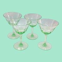 Set of Four Green Elegant Glass Engraved Six-Petal Flower Panel Optic Sherbets
