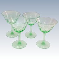 Set of Four Green Elegant Glass Engraved Six-Petal Flower Panel Optic Sherbets