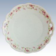 MZ Austria Pierced Handle Floral Rim Serving Plate Circa 1900