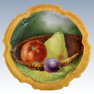 Coronet Limoges France Signed Still-Life Fruits Plate Gilded Rim Early 1900s