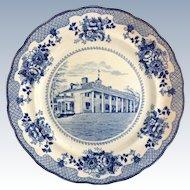 Buffalo Pottery Washington's Home at Mount Vernon Cobalt Blue Transferware  Plate Early 1900s