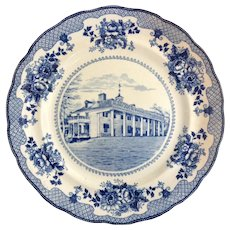 Buffalo Pottery Washington's Home at Mount Vernon Cobalt Blue Transferware  Plate Early 1900s