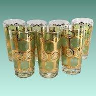 Washington Pasinski Mid Century Green and 22-Karat Gold Starburst Highball Tumblers Set of Seven