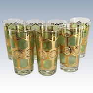 Washington Pasinski Mid Century Green and 22-Karat Gold Starburst Highball Tumblers Set of Seven