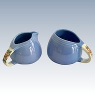 Hall Rose Parade Sani-Grid Sugar and Creamer Cadet Blue
