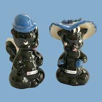 DeLee Art California Pottery Mr. and Mrs. Skunk Flower Holders - c. 1940s