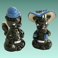 DeLee Art California Pottery Mr. and Mrs. Skunk Flower Holders - c. 1940s