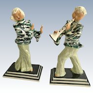 Pair Hedi Schoop California Pottery Young China Dancer and Musician Figurines